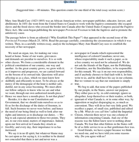 mary ann shadd cary ap essay Comparing cultures essay: ap lit  essays on smoking luftlager essays mary ann shadd cary rhetorical essay intro essay value computer education today.